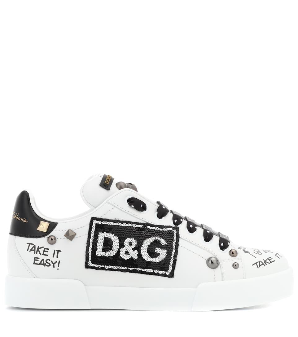 amp; amp; negro zapatillas cuero adornadas Gabbana de Dolce blanco 4Rqwx5g5