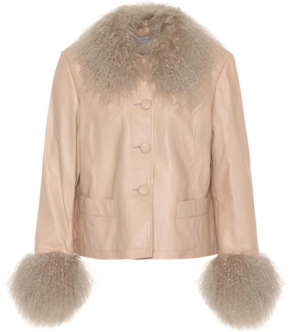Shearling Trimmed Leather Jacket by Saks Potts