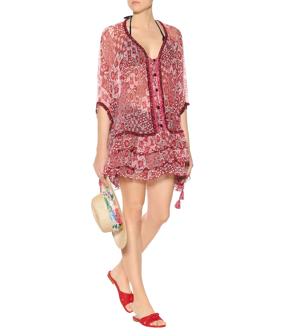 Bety printed silk poncho dress Poupette St Barth rpLEZykn