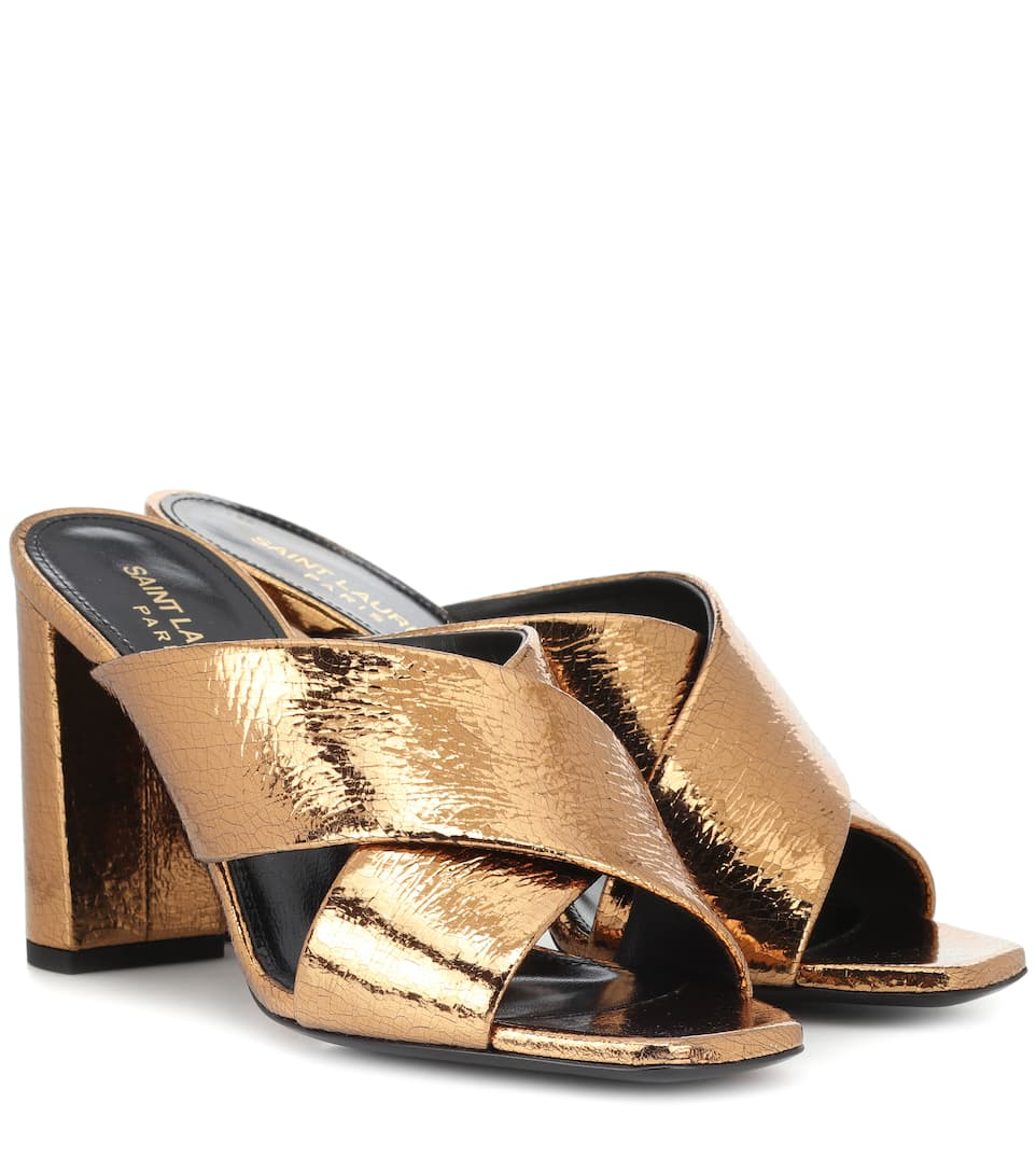 Loulou 95 Metallic Leather Sandals by Saint Laurent