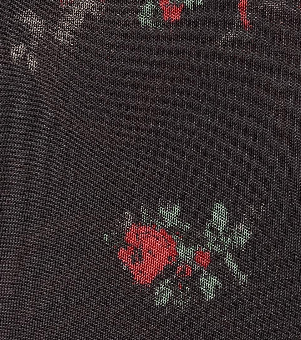 Floral Mesh Turtleneck Top - Ganni