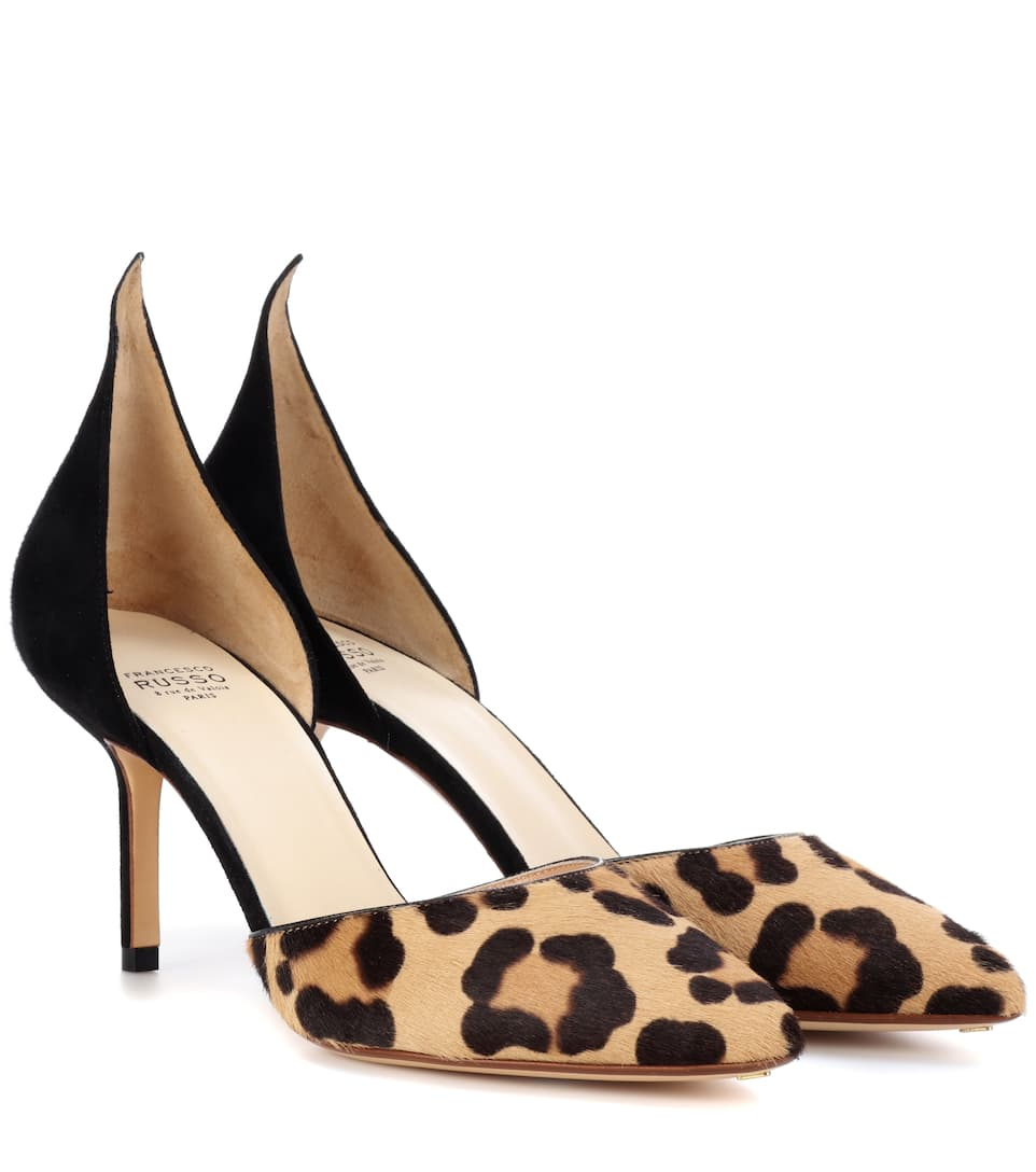 Francesco Russo Pumps From Calf Hair With Leopard-print