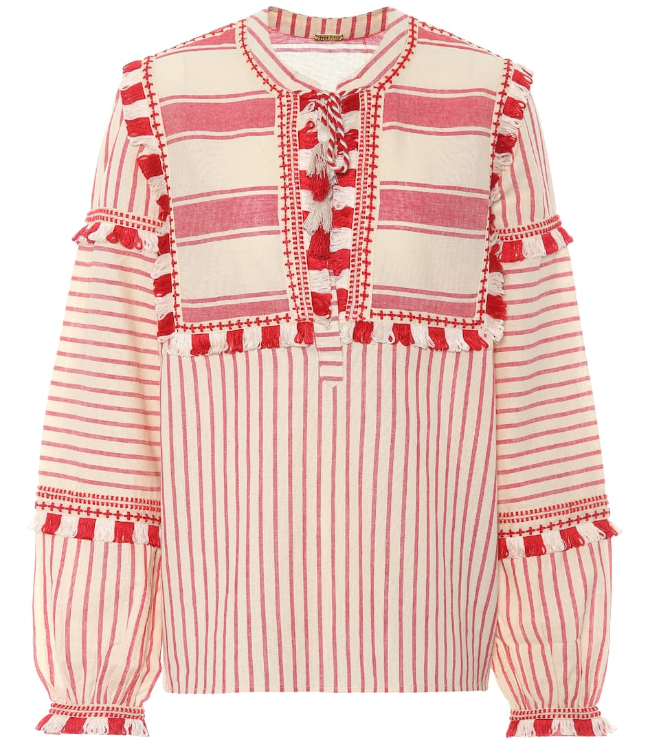 Emanuelle Fringe-Embellished Striped Cotton Top in Red