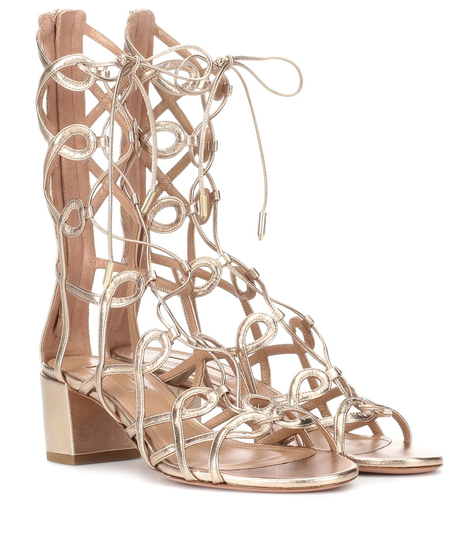 clearance Inexpensive top quality cheap price Aquazzura Mumbai Gladiator 50 leather sandals cheap sale oYeJ7CZ0GW