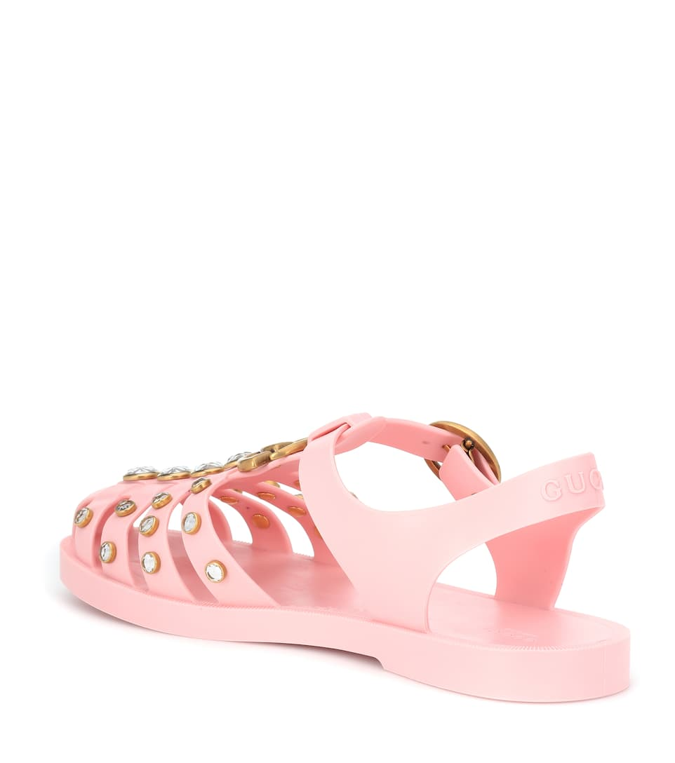6ae490d21e0e Crystal-Embellished Jelly Sandals - Gucci