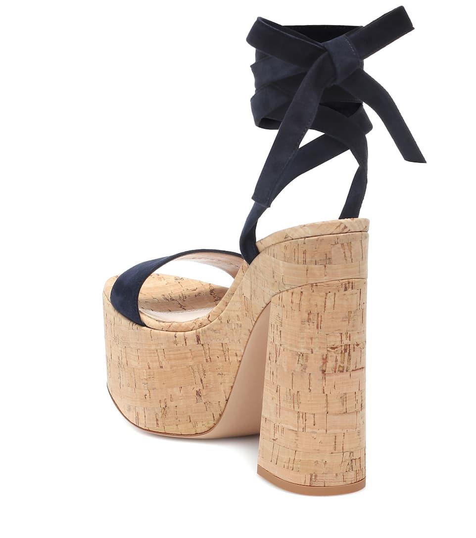 Cork and suede platform sandals