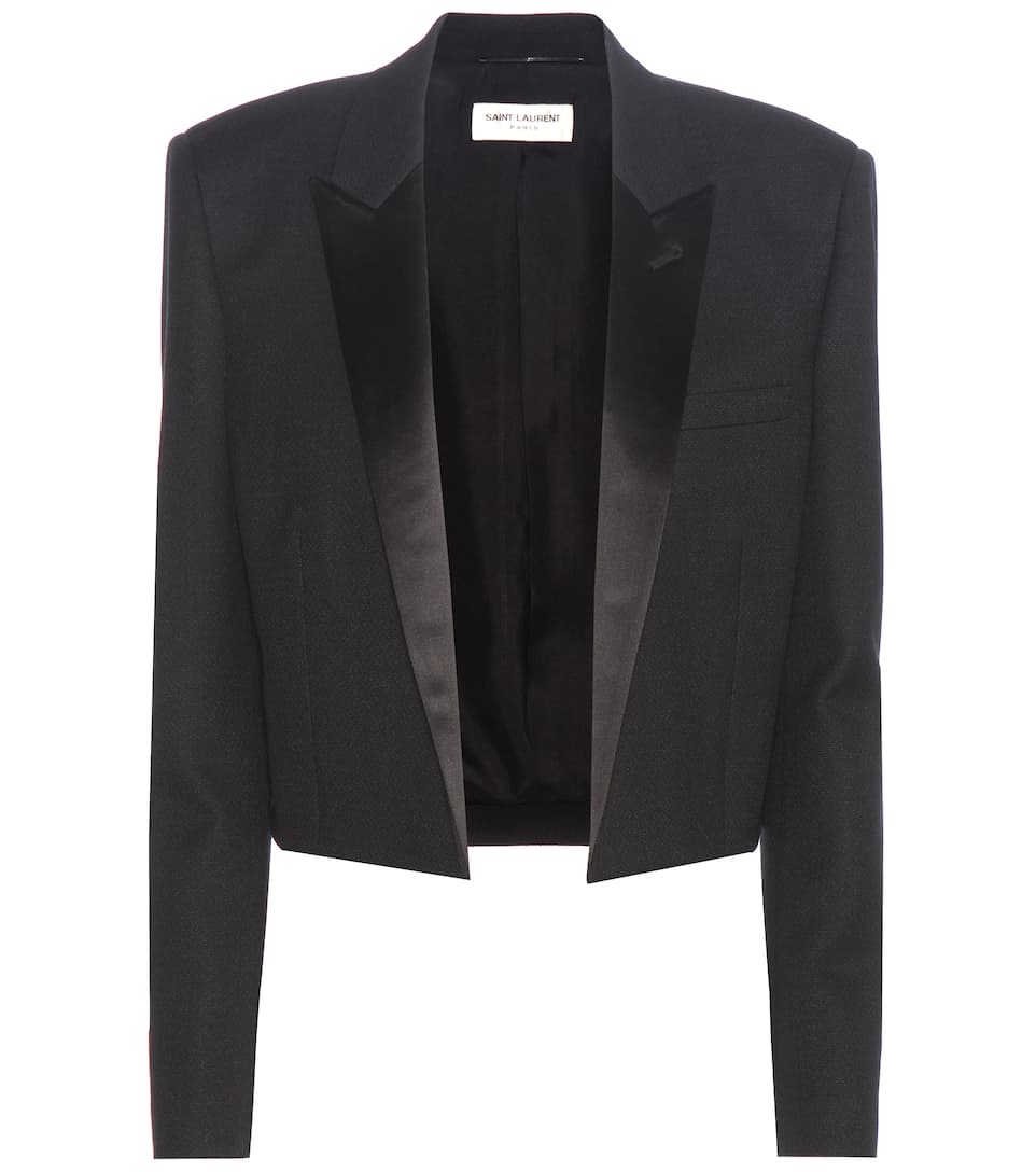 Saint Laurent Blazer Iconic Le Smoking 80s aus Wolle mit Satinrevers