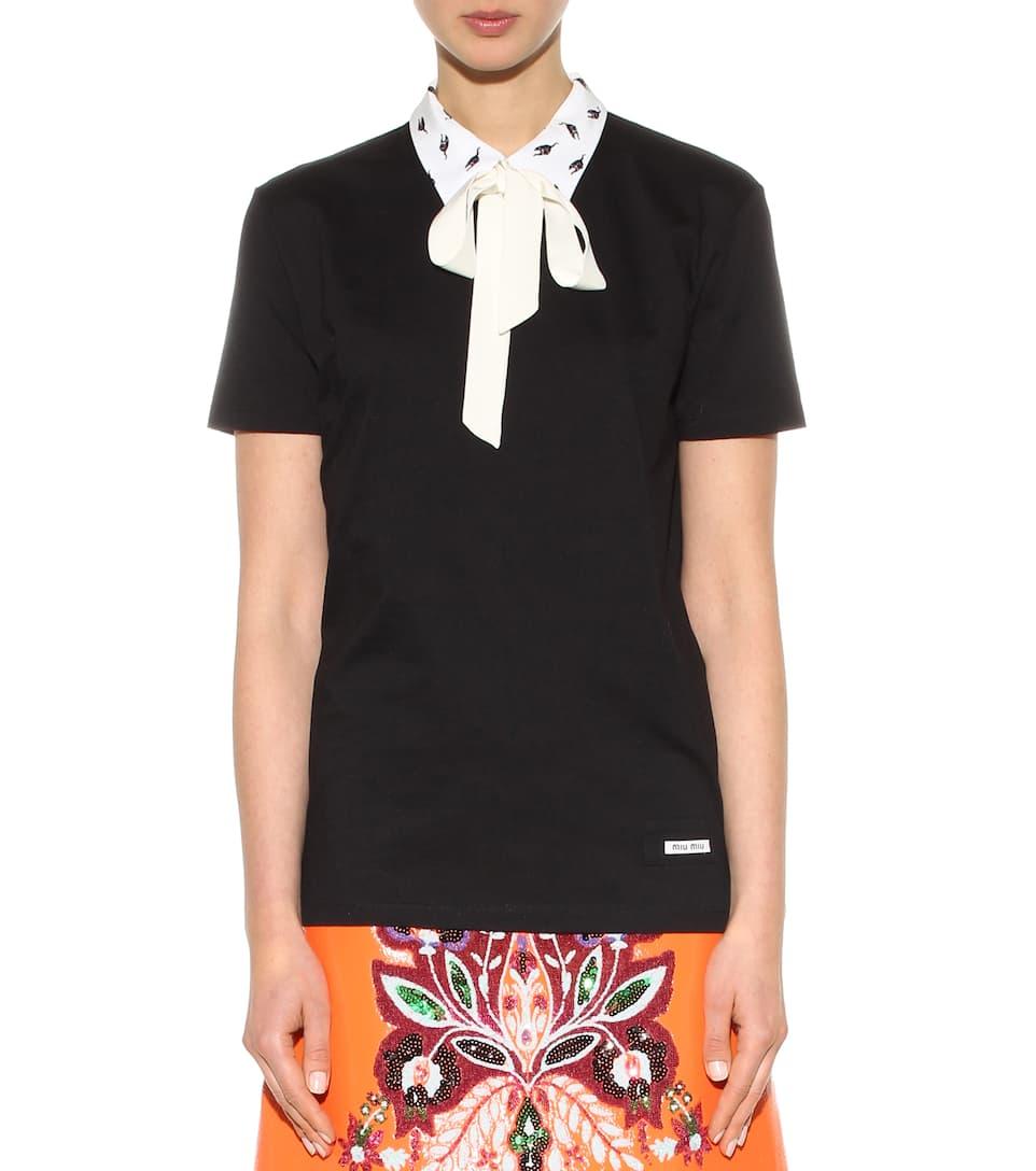 Miu miu collared cotton t shirt for Miu miu t shirt