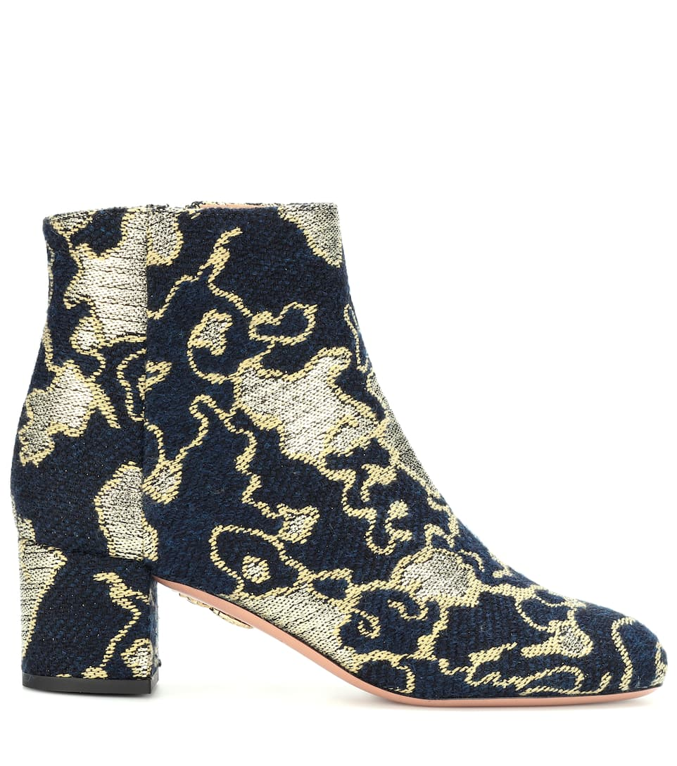 Aquazzura Exclusively At Mytheresa.com - Brocade Ankle Boots Brooklyn 50 From