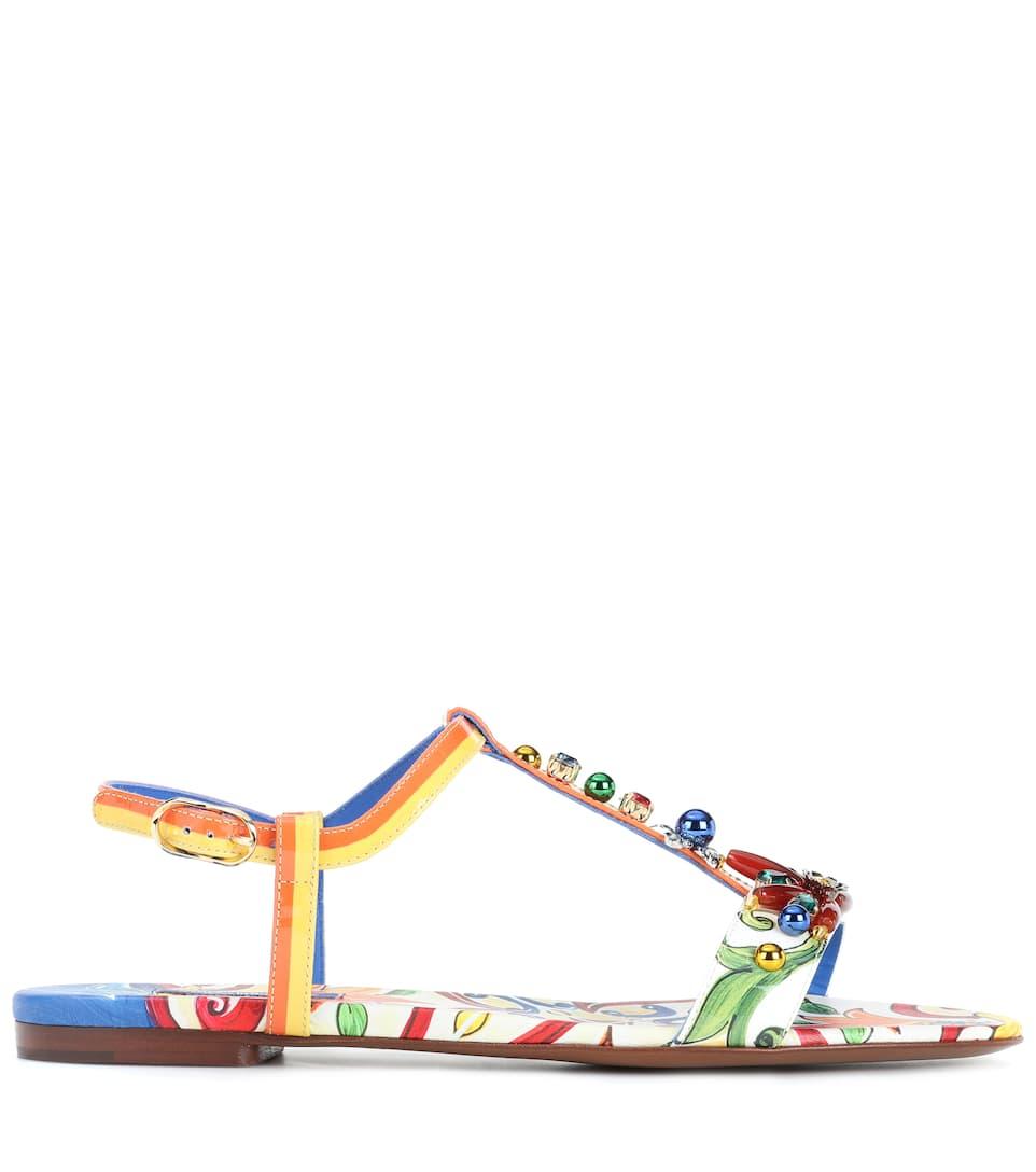 Dolce & Gabbana Bedruckte Sandalen aus Leder