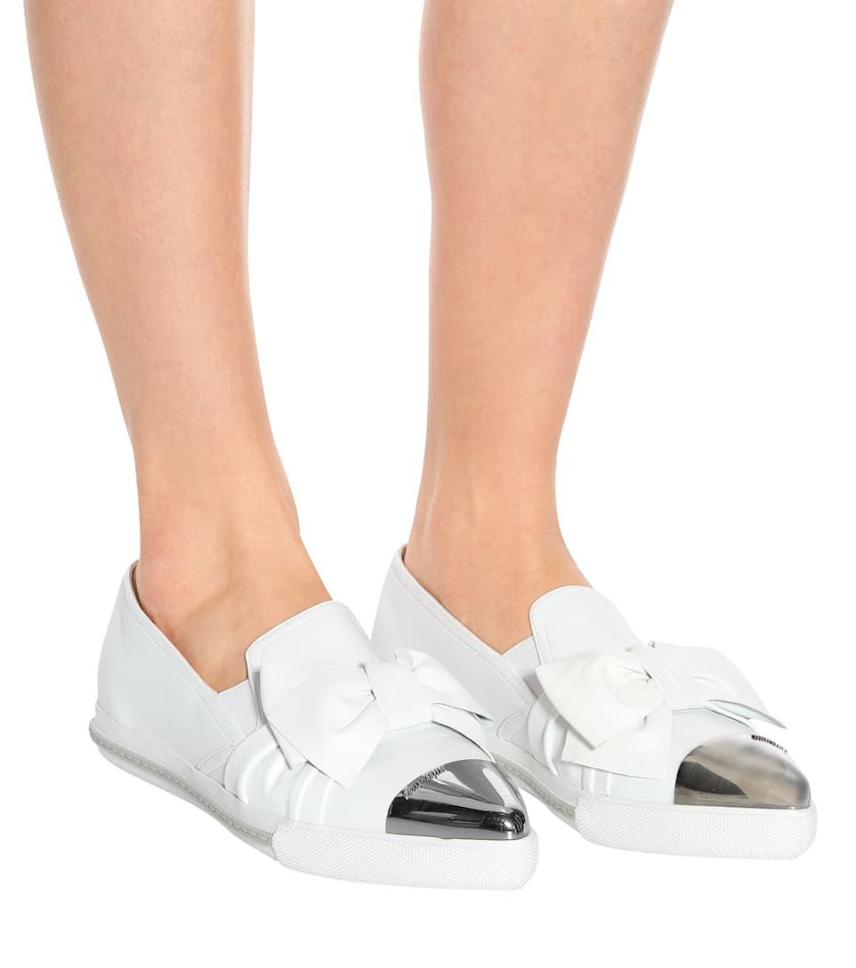 Miu Miu Studded Slip-ons In Leather