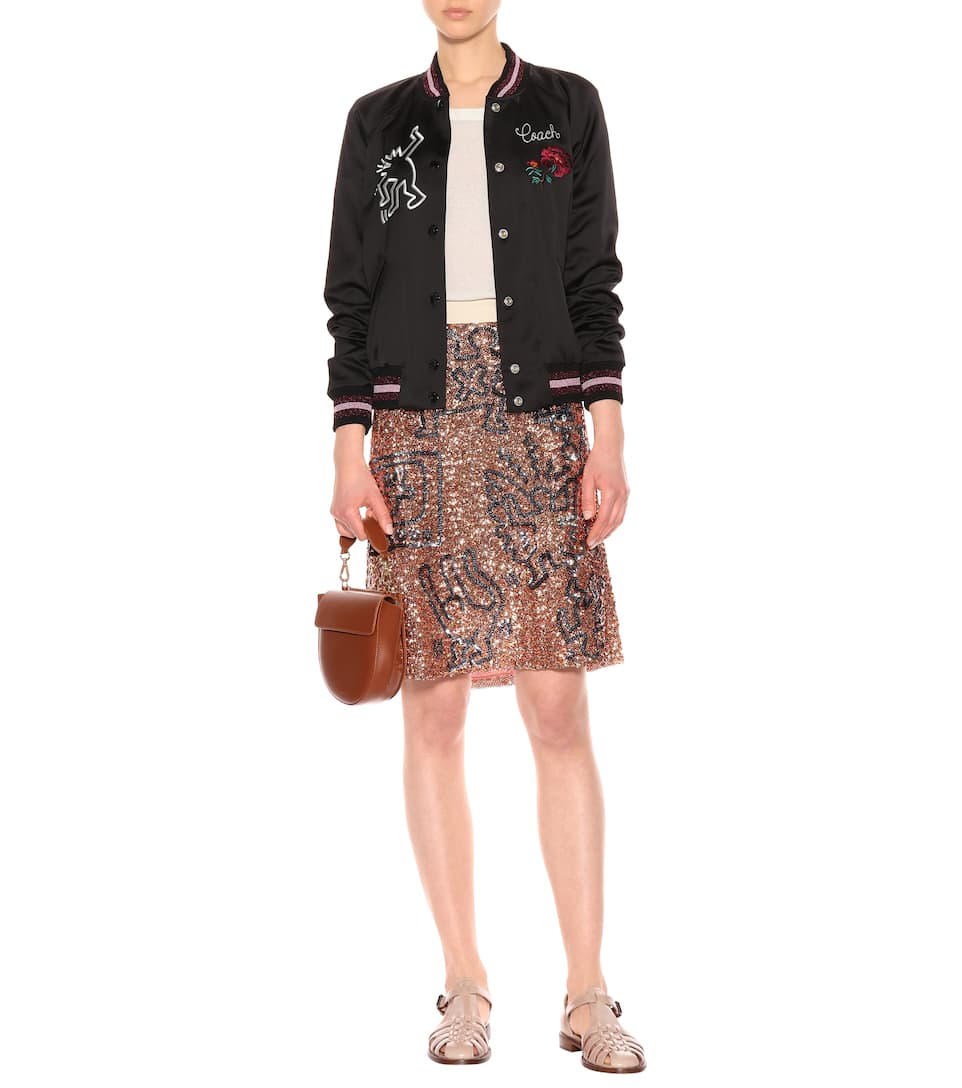 Buy Cheap Excellent Coach X Keith Haring satin bomber jacket Black Cheap Sale Order TgE1wR