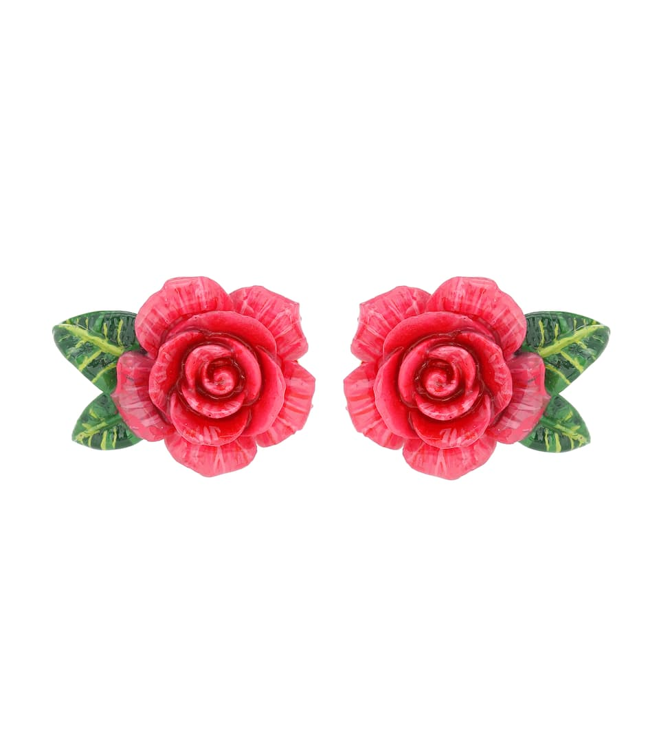 Rose Clip-On Earrings in Pink