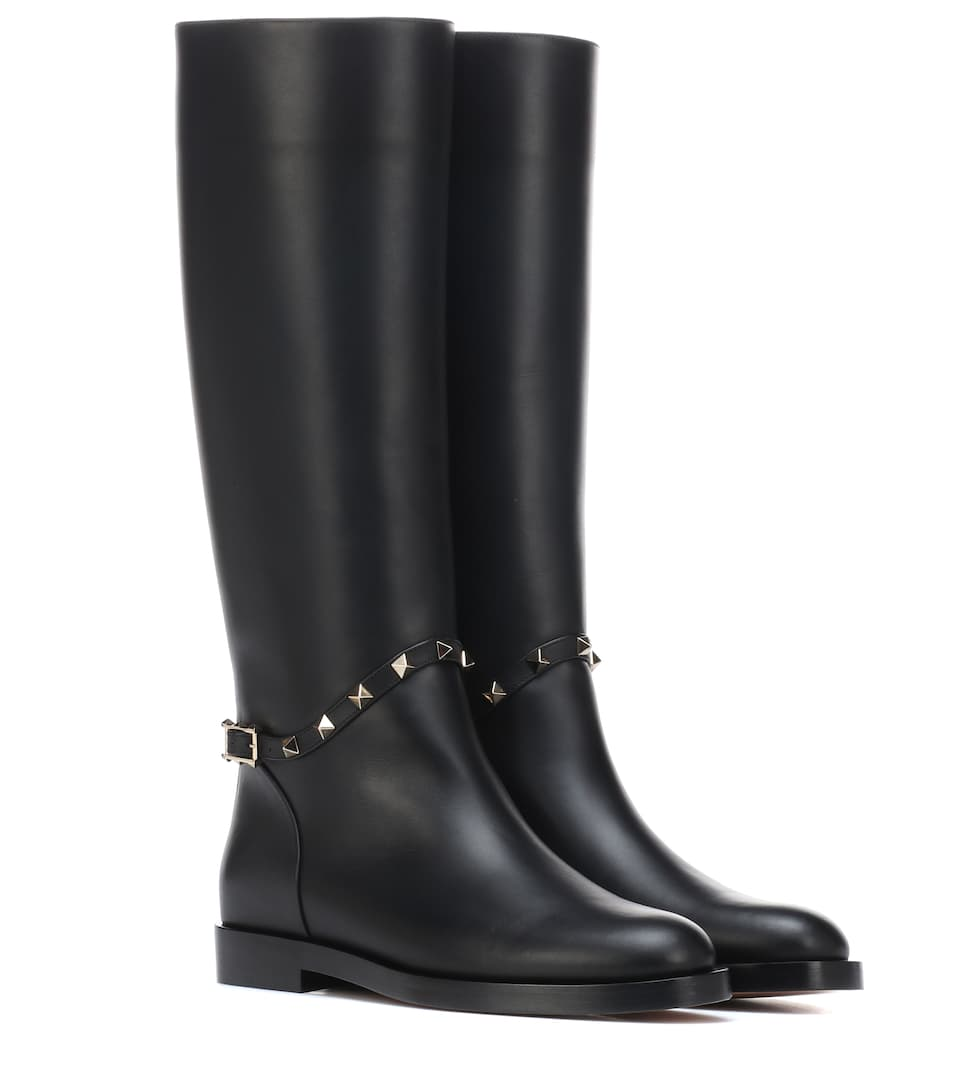 Rockstud Leather Boots in Black