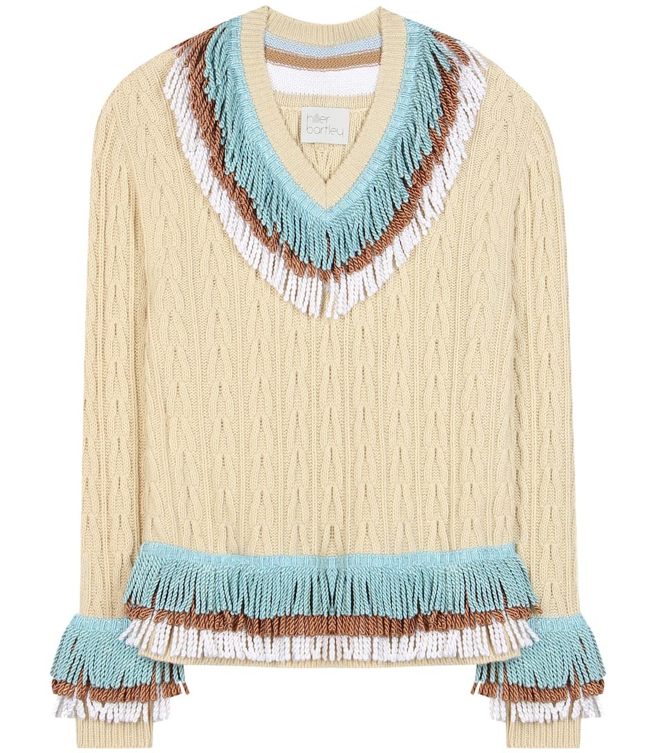 Hillier Bartley Embellished Cashmere And Cotton Sweater, Beige