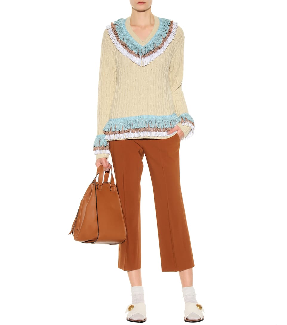 HILLIER BARTLEY FRINGED CASHMERE AND COTTON-BLEND CRICKET SWEATER, BEIGE