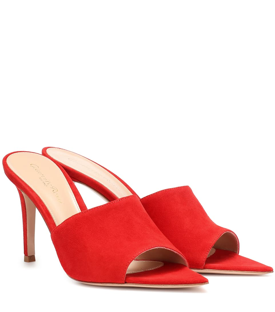 Gianvito Rossi Red Point-toe 85 Suede