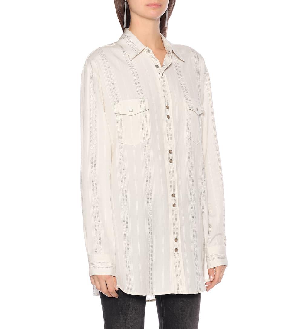 Striped Twill Shirt   Saint Laurent - Mytheresa