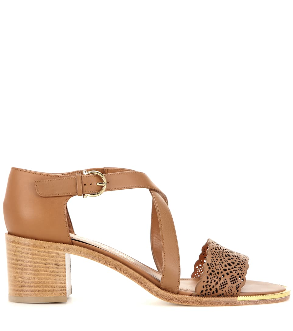 SALVATORE FERRAGAMO Garissa Laser Cut Leather Sandals