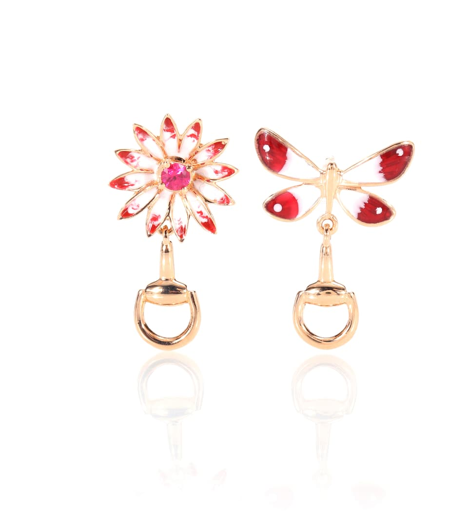 86d73958caf Gucci Flora Earrings In Rose Gold With Rubies - Gucci