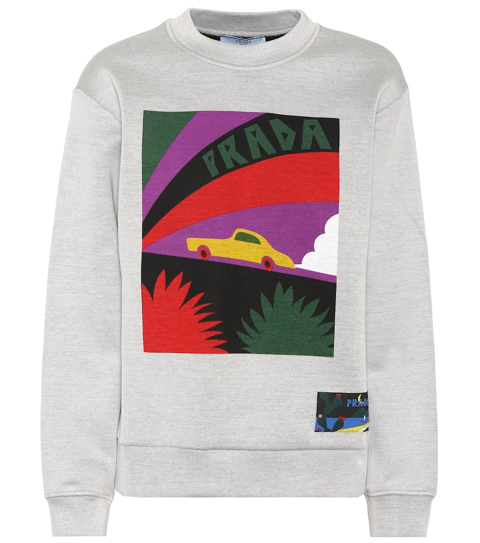6592dd6ce1 Printed Cotton-Blend Sweatshirt - Prada | mytheresa.com