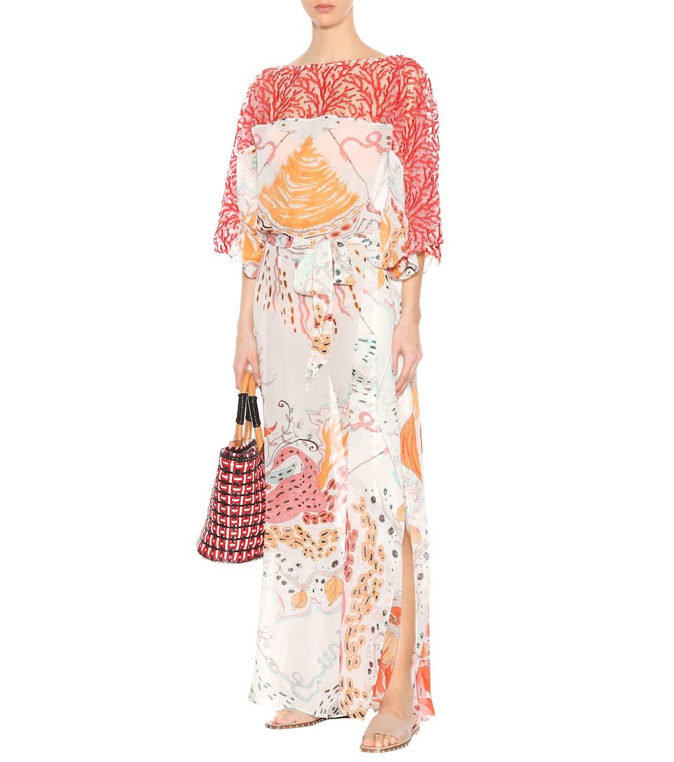 Roberto Cavalli Bedrucktes Kleid aus Seide