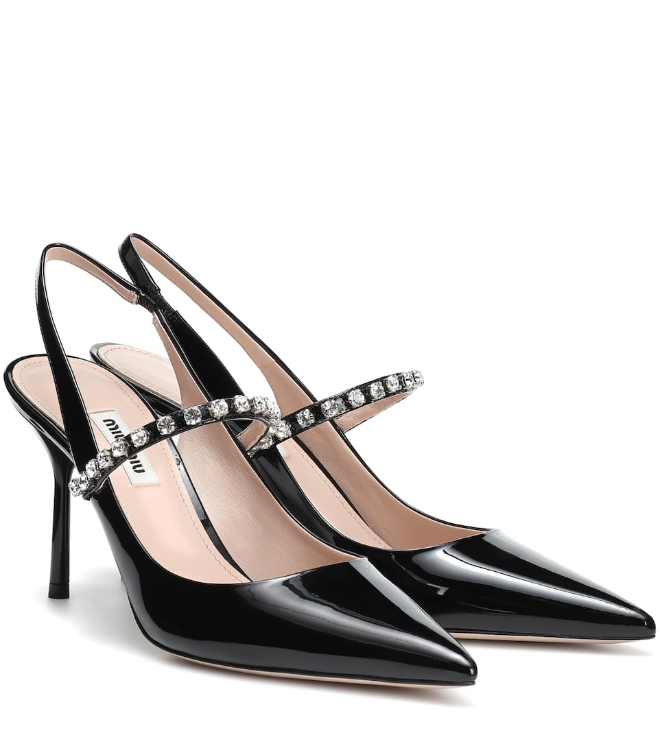 Miu Miu - Embellished patent leather pumps