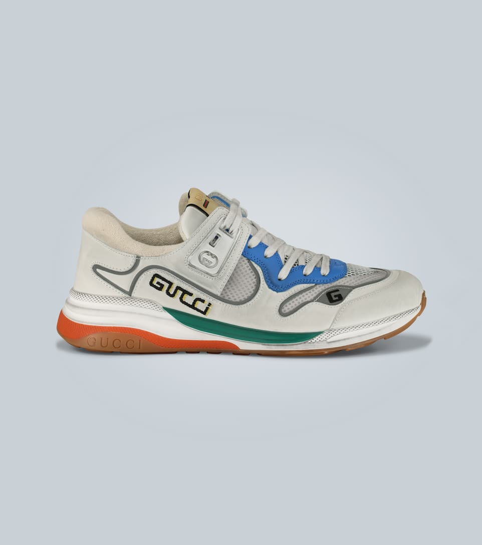 Gucci Ultrapace Distressed Leather And Suede Trainers In White/silver