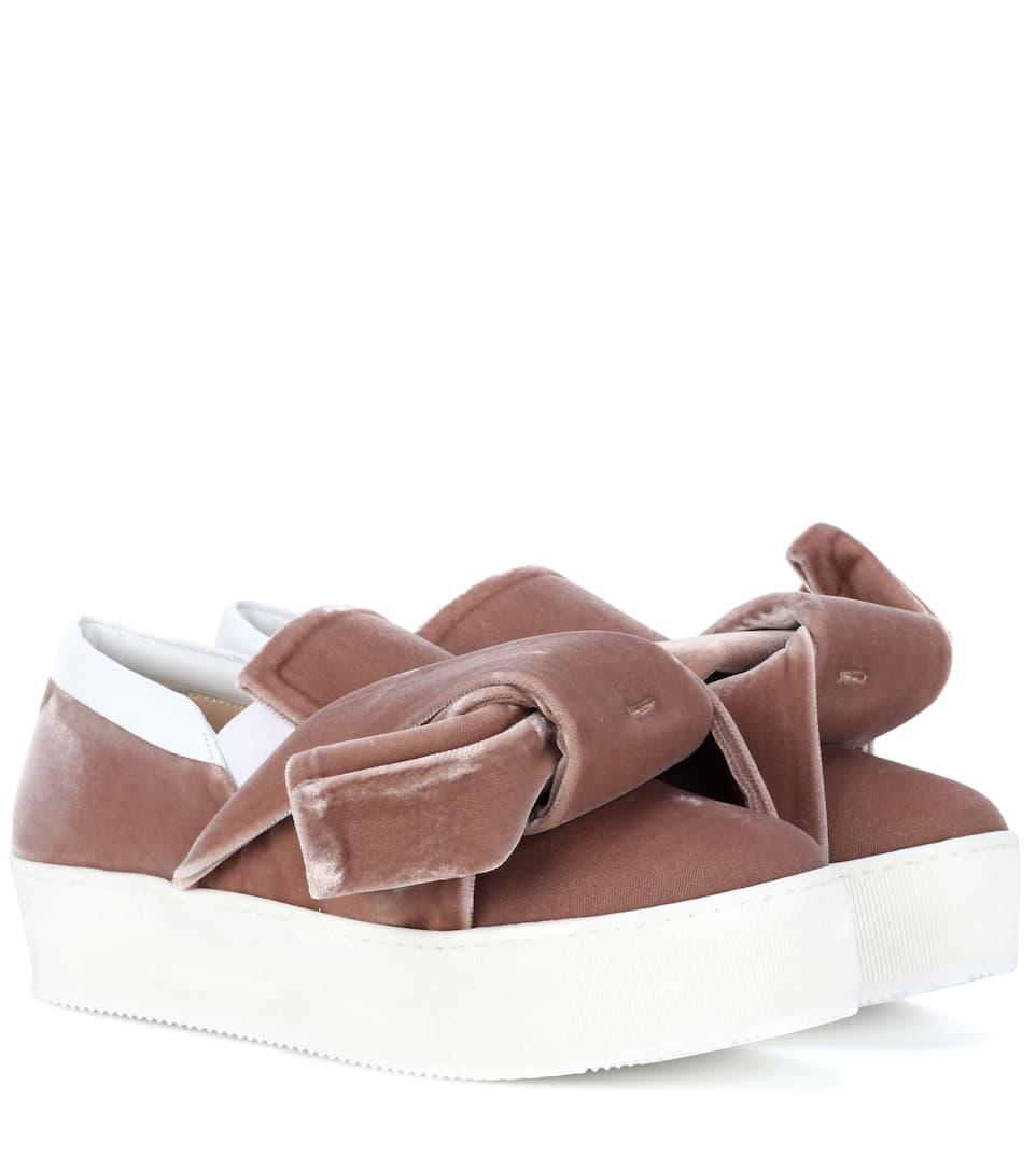 Velvet platform slip-on sneakers N fhmQ18vS1y