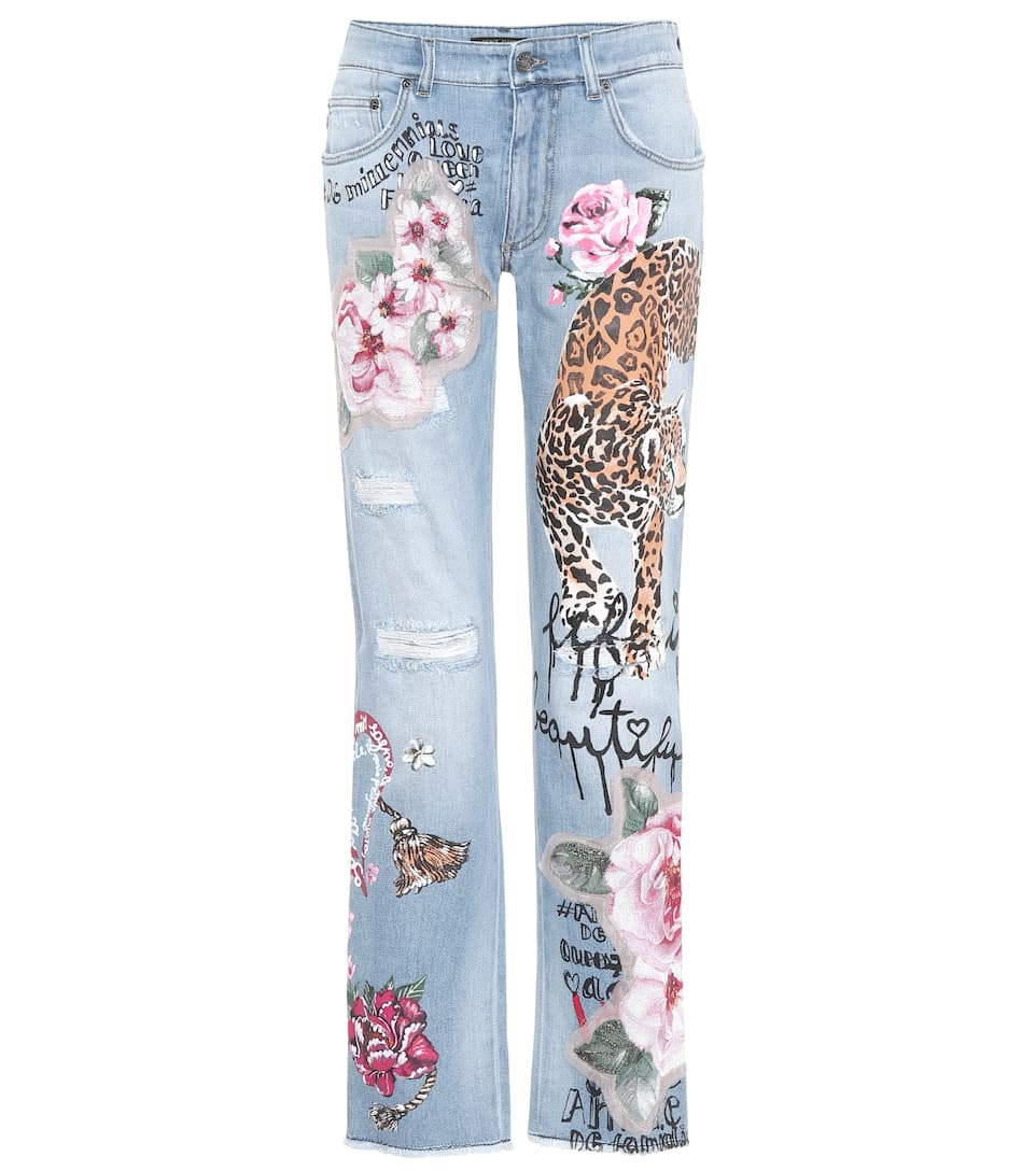 Dolce & Gabbana Decorated Distressed Jeans