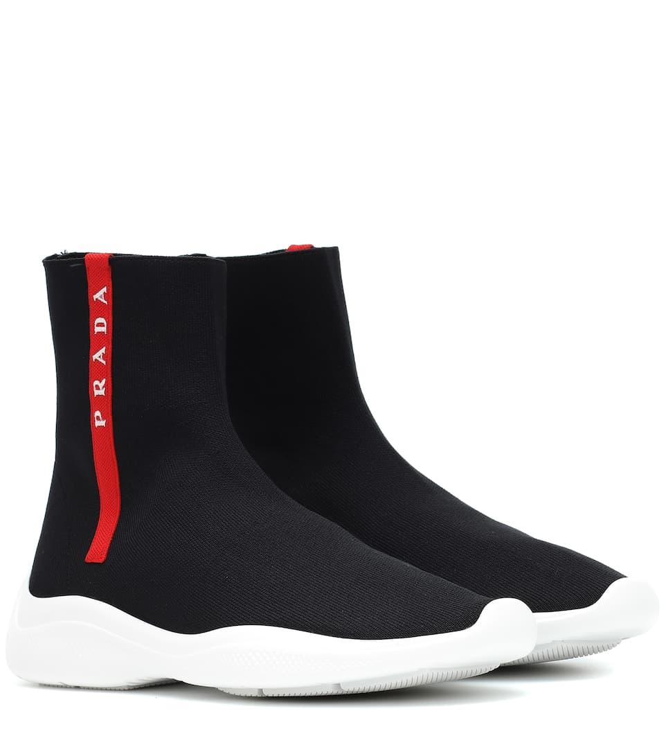 Knit Sock Sneakers by Prada