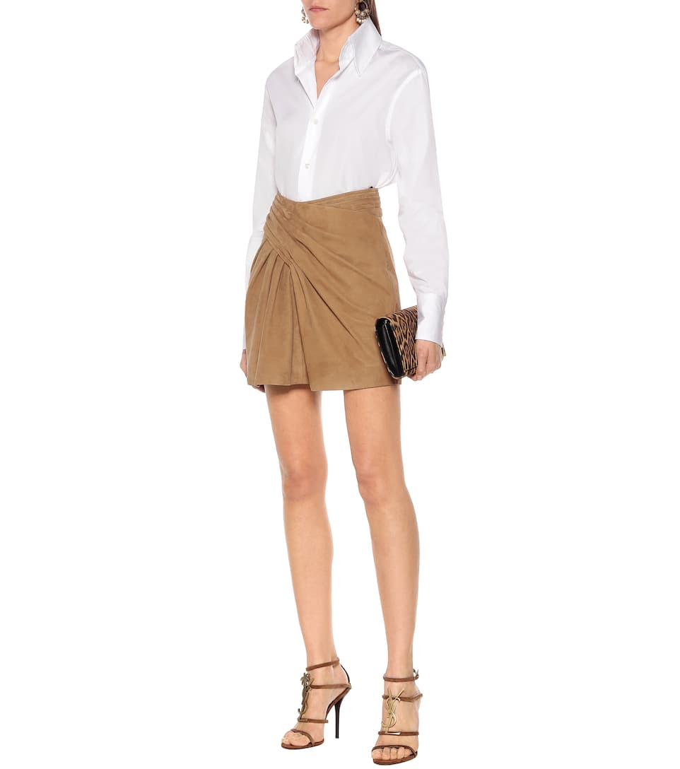 High-Rise Suede Miniskirt - Saint Laurent