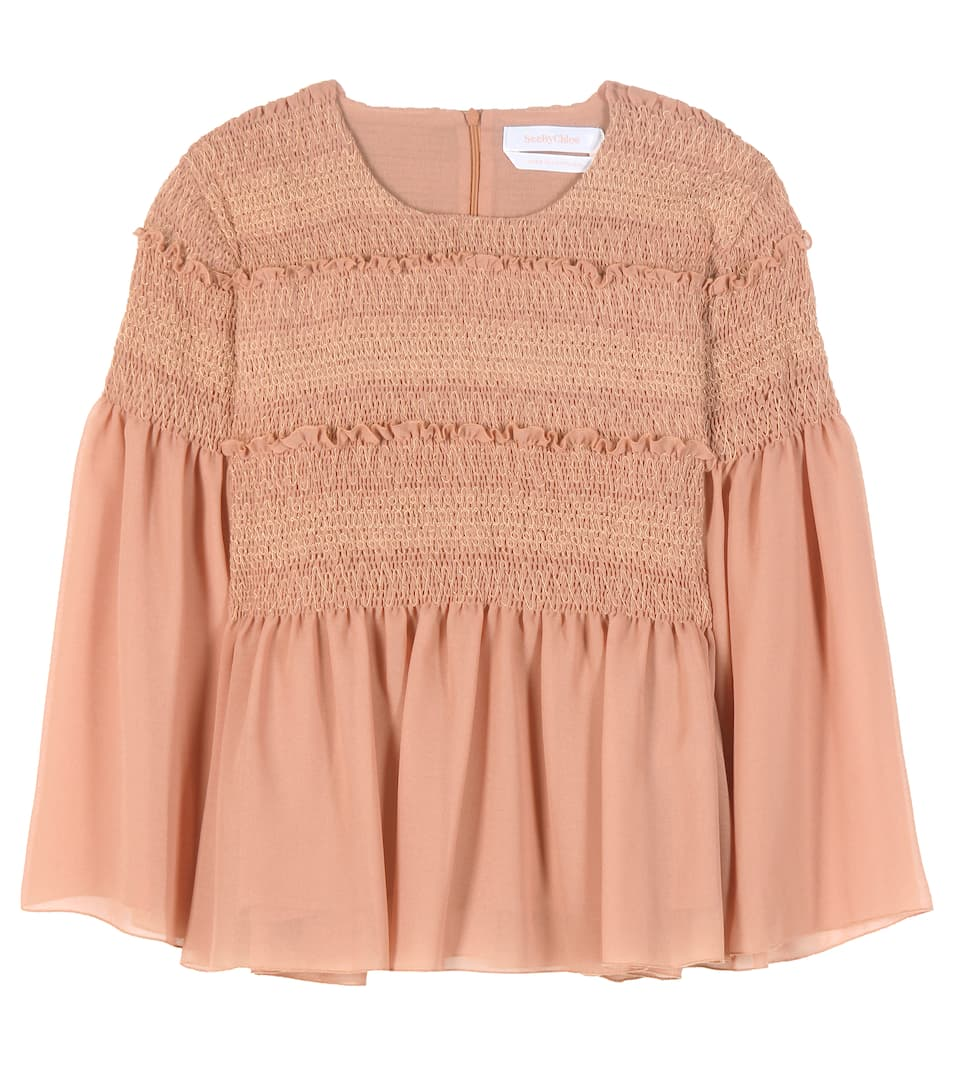 See By Chloé Smocked cotton blouse