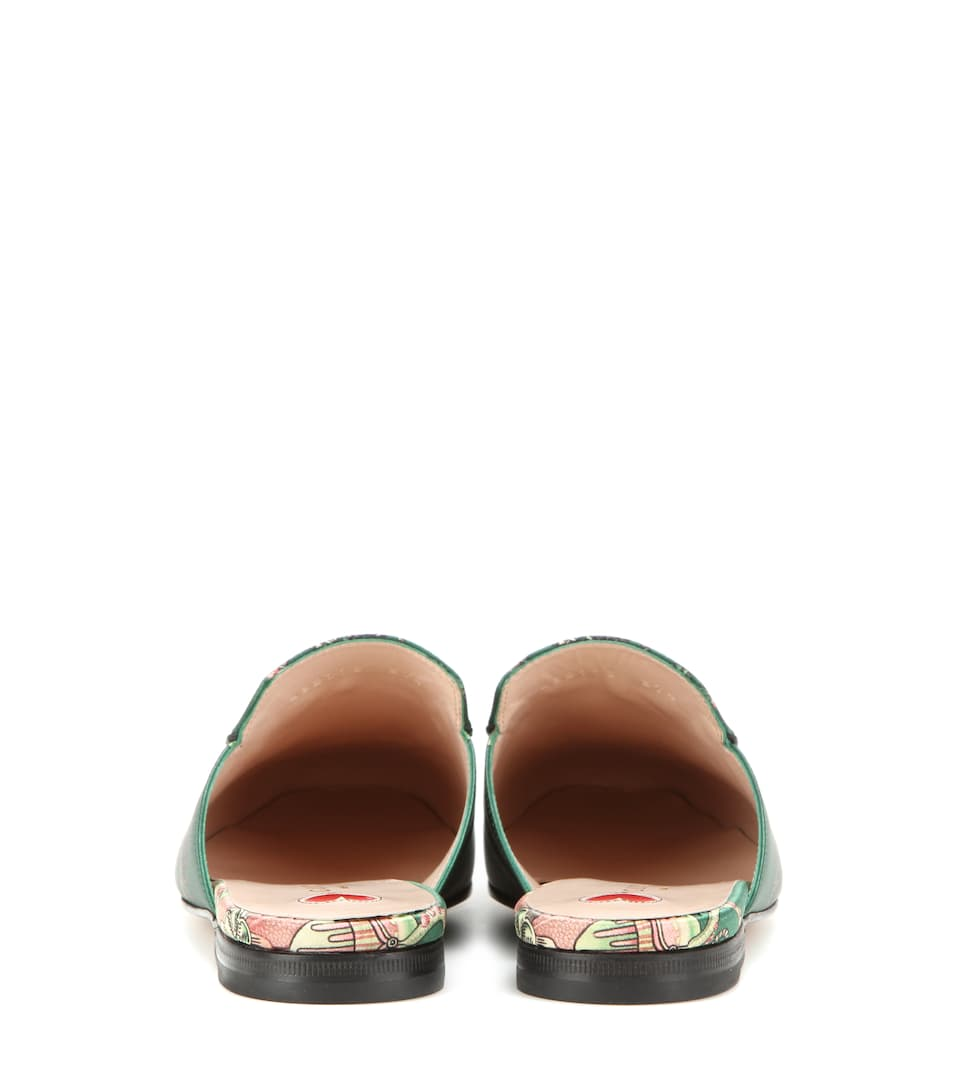GUCCI Princetown Horsebit-Detailed Printed Satin Slippers