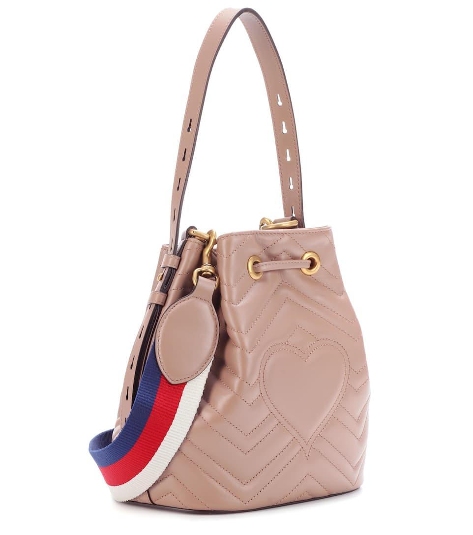 169d9e74449 Gg Marmont Leather Bucket Bag - Gucci   mytheresa.com