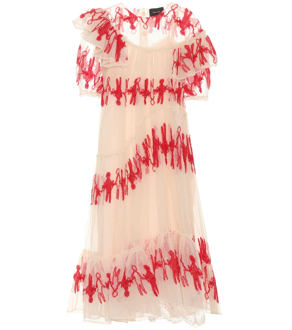 Simone Rocha Semi-transparentes Kleid aus Tüll mit Volants