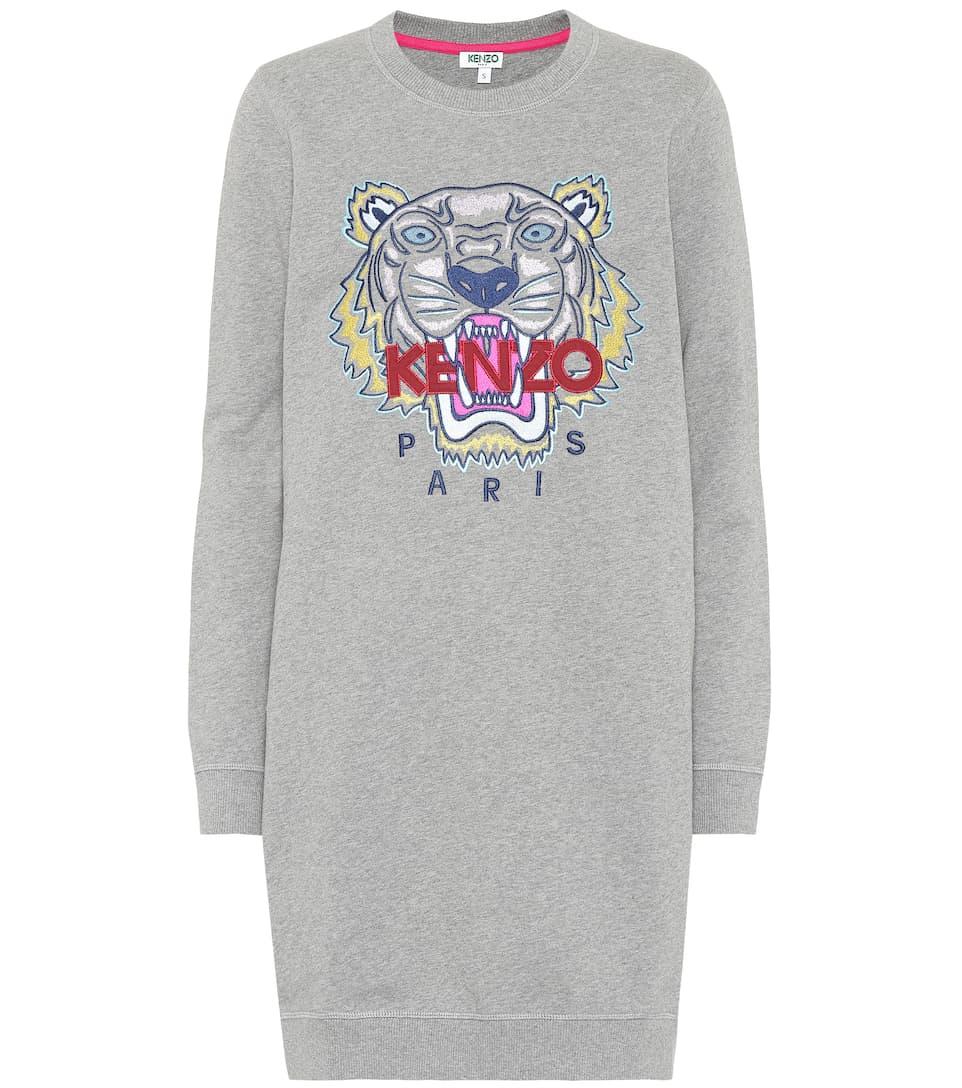 de algodón bordado Kenzo de gris suéter paloma vestido vwxSO