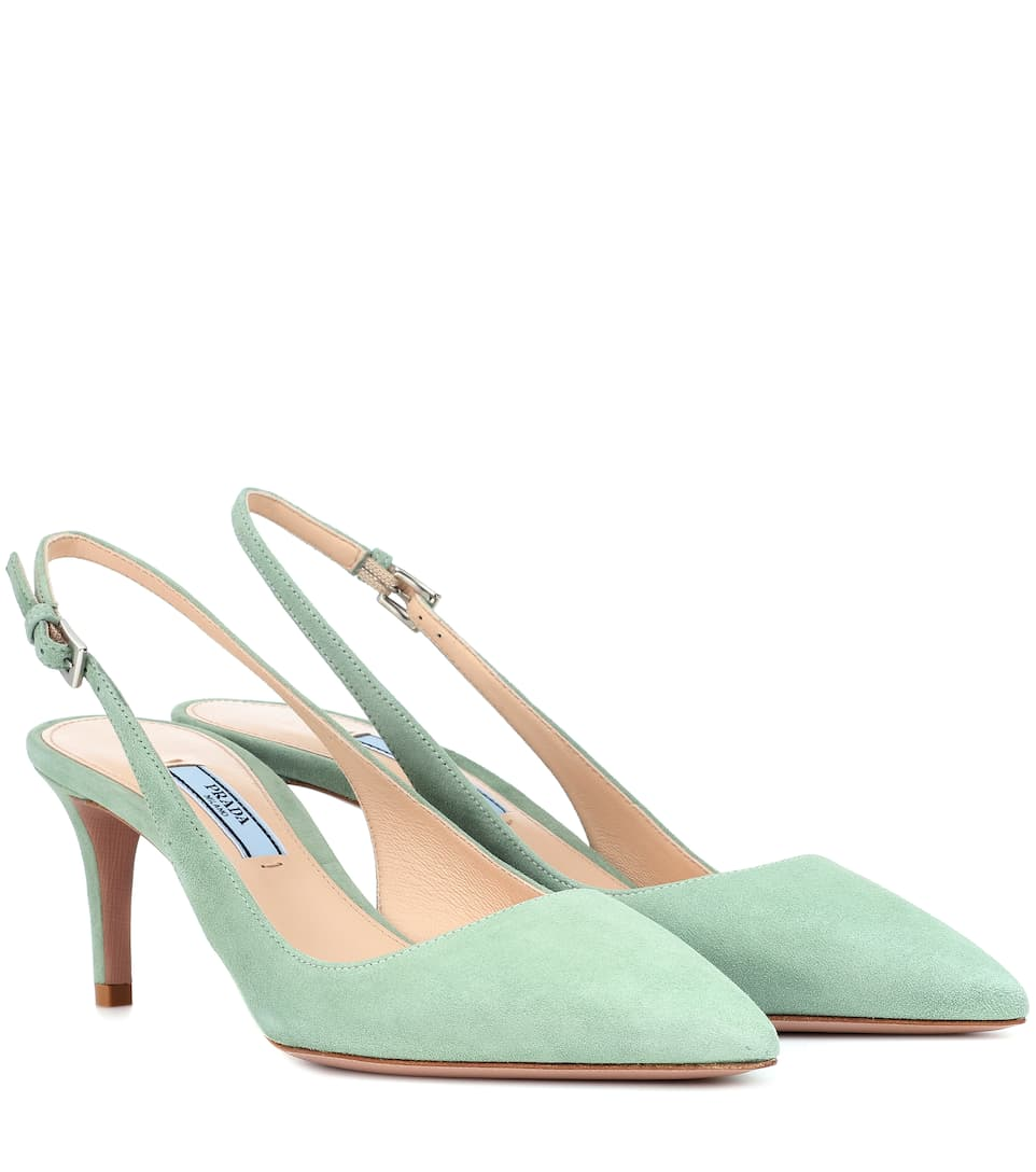 Suede Slingback Pumps by Prada