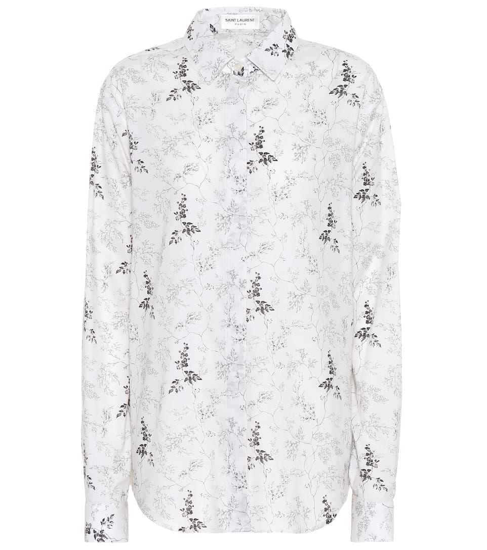 Saint Laurent Bedruckte Bluse aus Baumwolle Günstiger Preis Top-Qualität lvfEMZoeCO