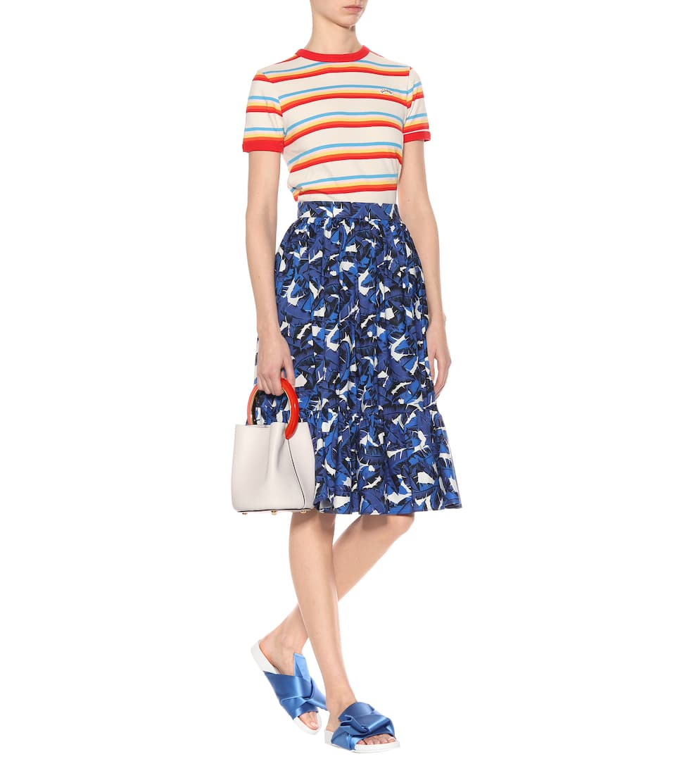 Msgm Printed Midi Skirt Made Of Cotton
