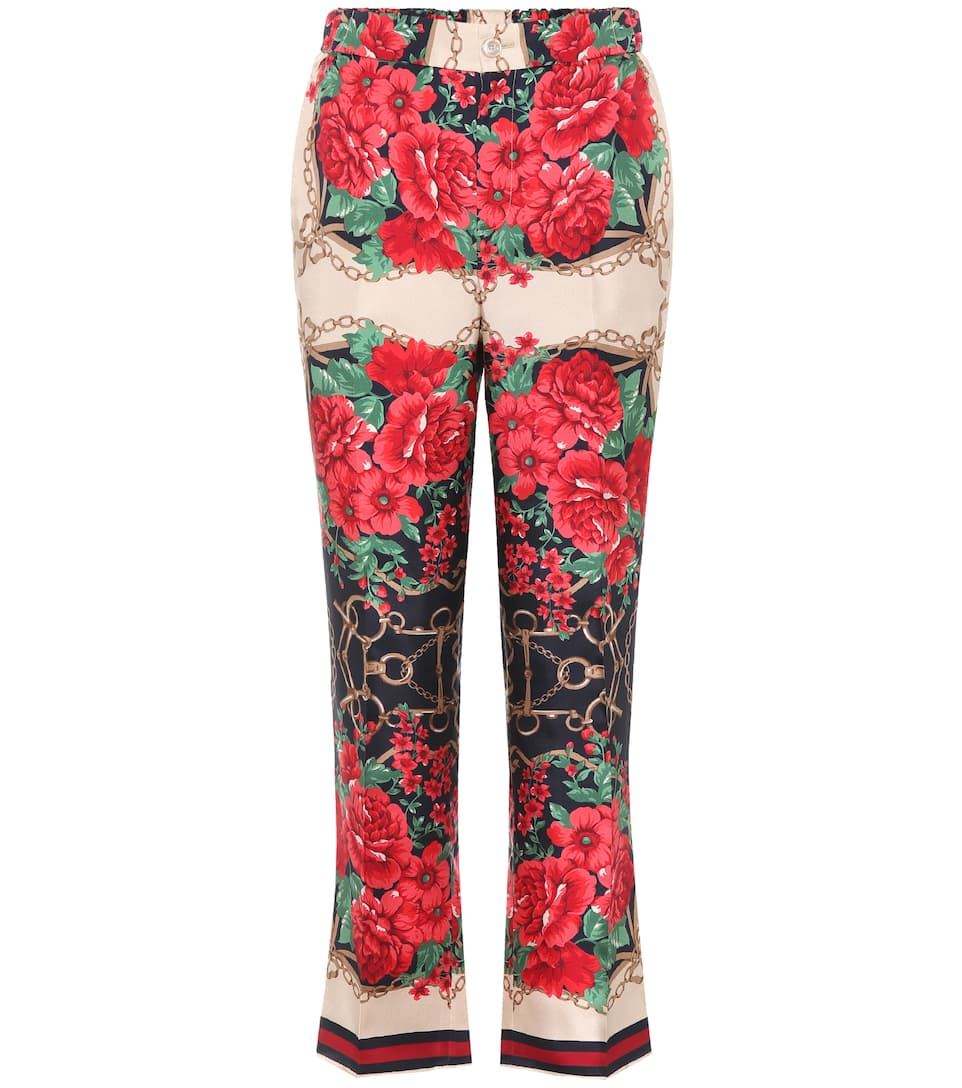 Cropped Printed Silk-Twill Wide-Leg Pants in Red