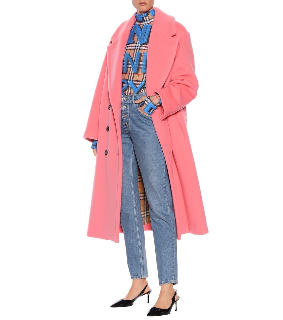 cachemir Coral de lana Burberry Pink y Abrigo Bright wqO7CO