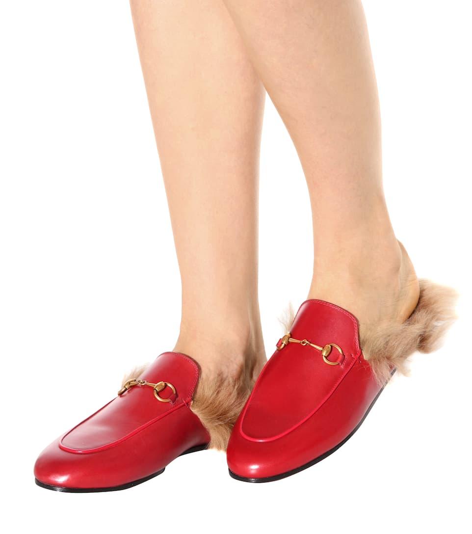 Leder-Slippers Princetown mit Lammfell
