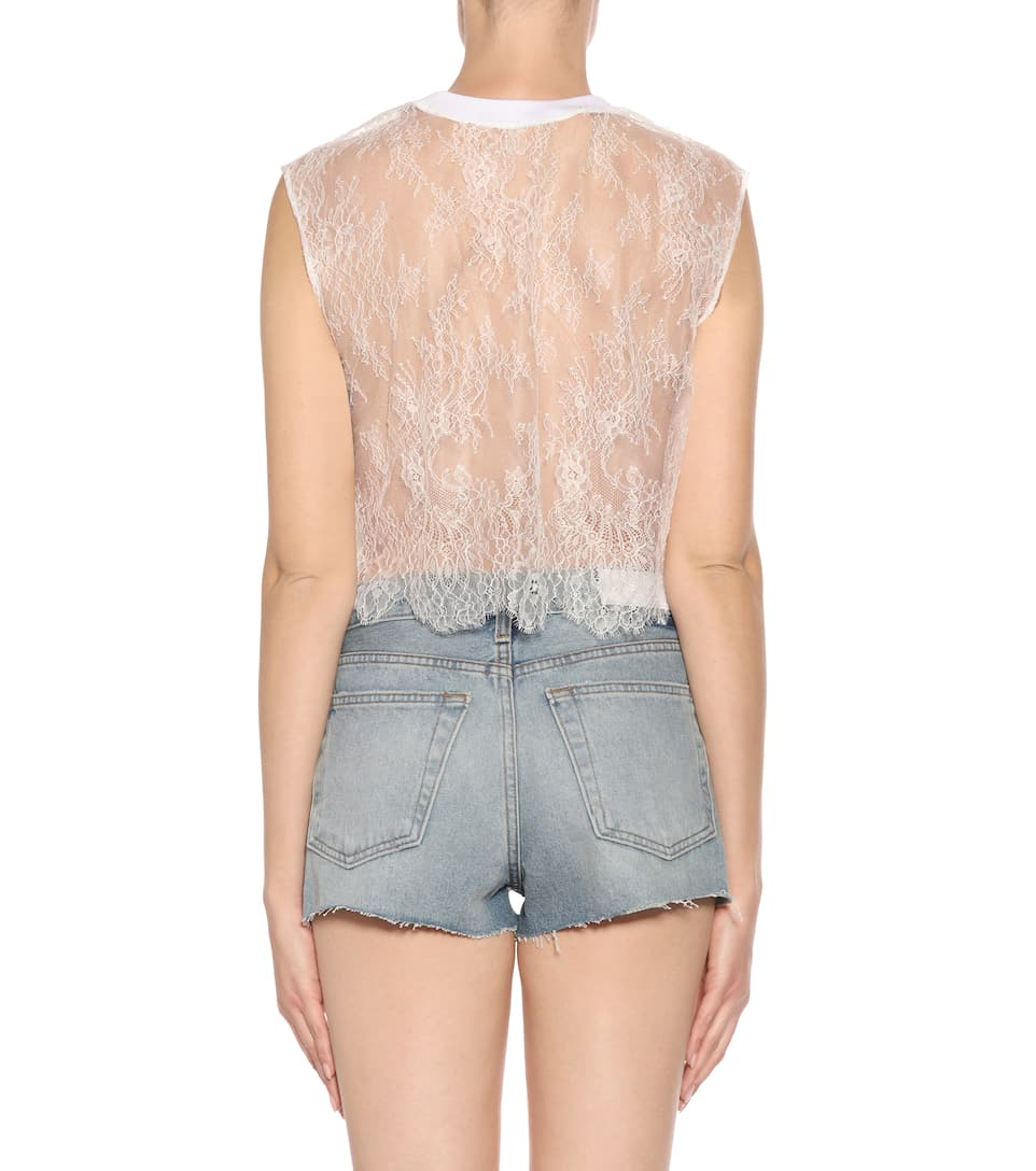 Off-white Sleeveless Top Made Of Lace