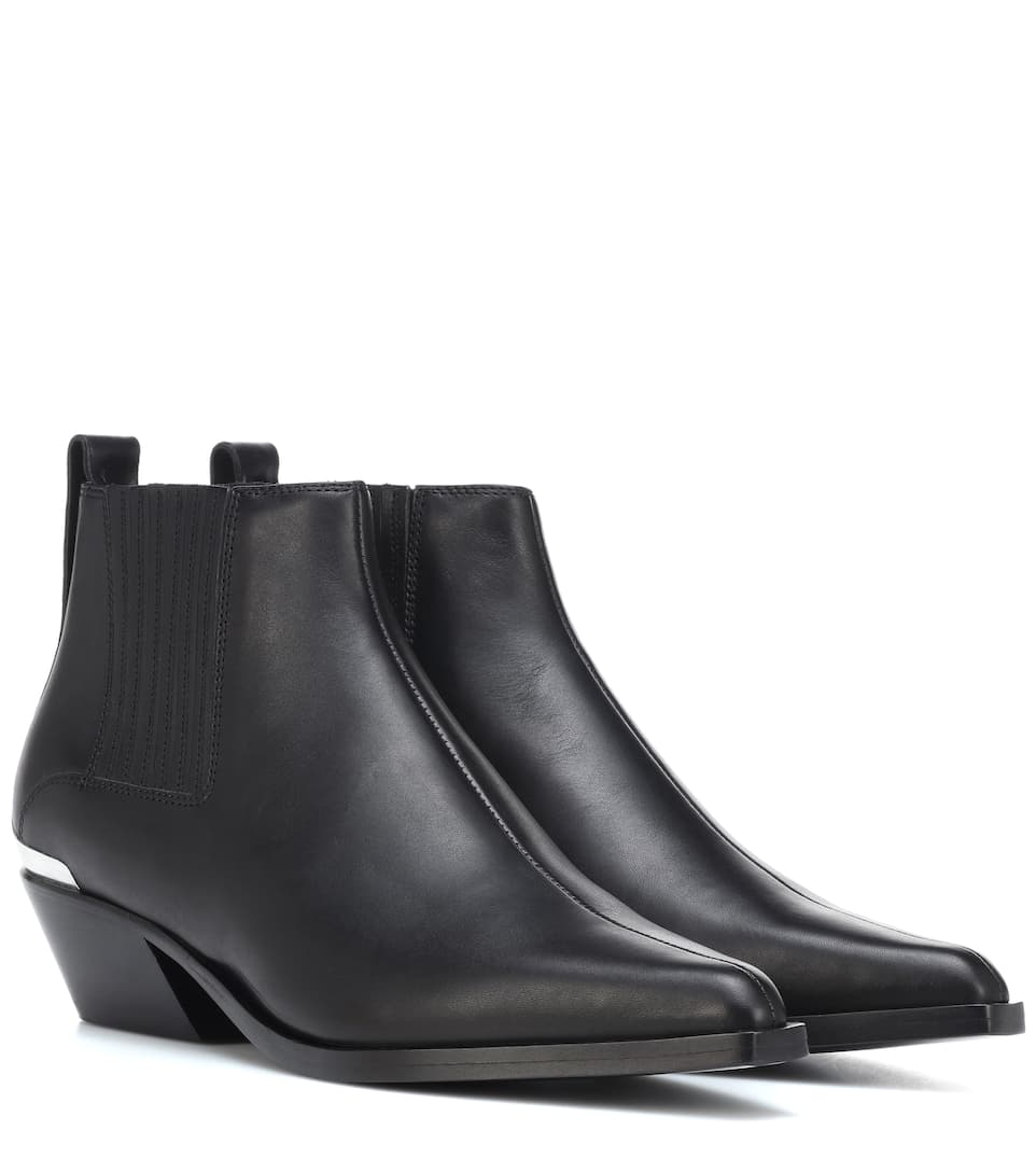 Westin Metal-Trimmed Leather Ankle Boots in Black