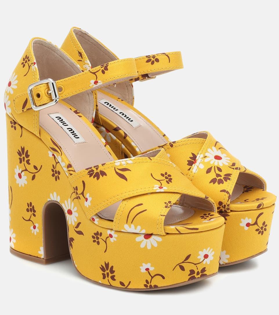 Floral Platform Sandals - Miu Miu