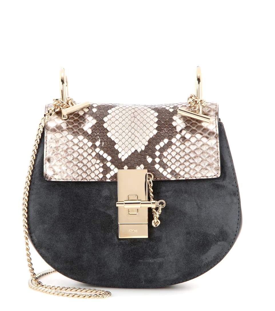Chloé Drew Mini snakeskin and suede shoulder bag