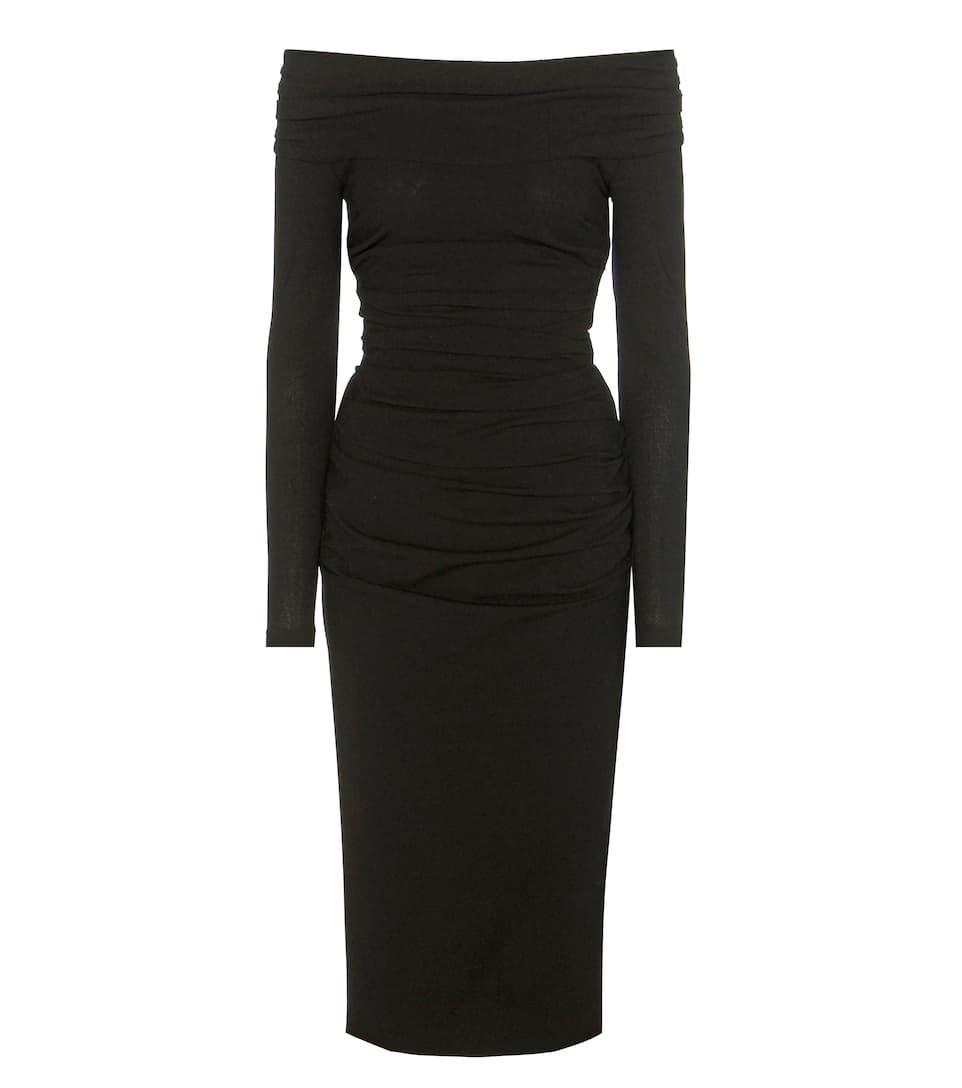 Dolce & Gabbana Off-the-shoulder ruched virgin wool-blend dress