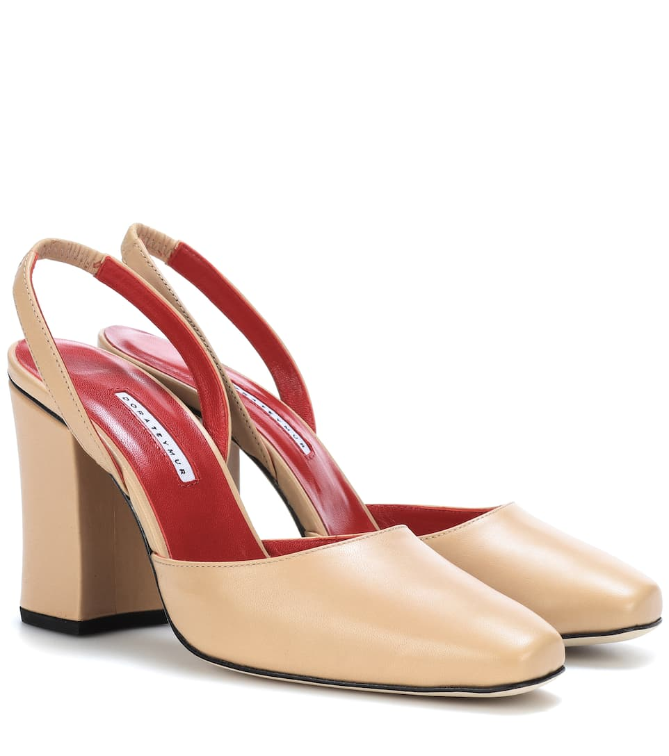 RESORT LEATHER SLINGBACK PUMPS
