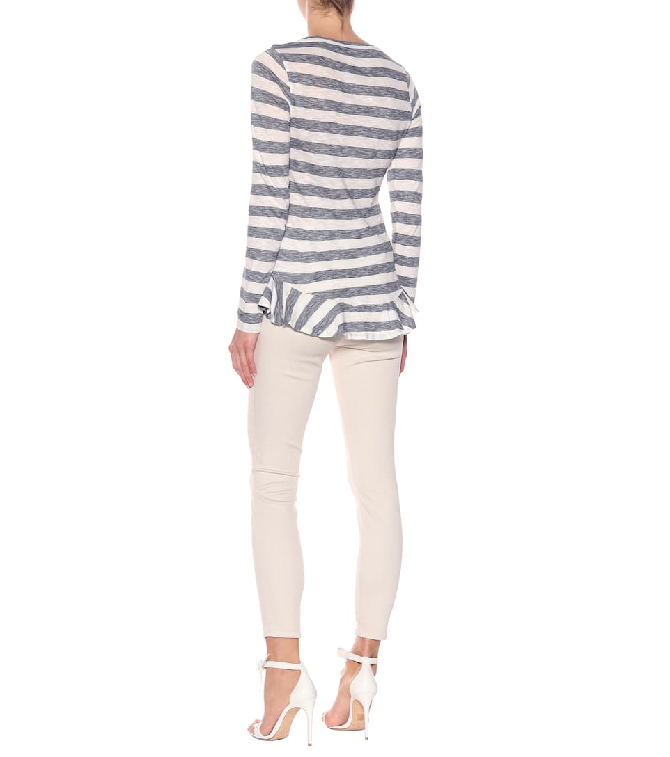 81hours Striped Longsleeve Made Of Cotton With Volants